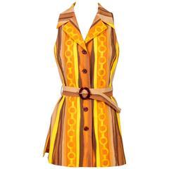 Vintage Celine Mod Stripe Print Belted Tunic Vest