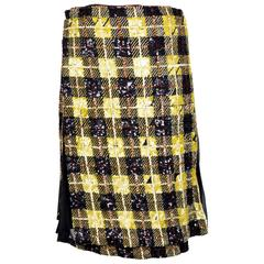 Jean Paul Gaultier Sequin Plaid Skirt with Mesh Pleats circa 2000s