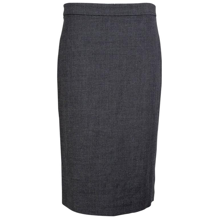Jean Paul Gaultier Wool Pencil Skirt with Black Trim and Tassel circa 1990s