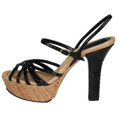 New DOLCE & GABBANA Platform Python Leather Raffia Shoes Sandals It 36 - US 6