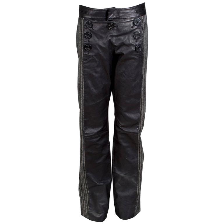 Jean Paul Gaultier Men's Leather Pants with Wool Stripes Down Side circa 2000s
