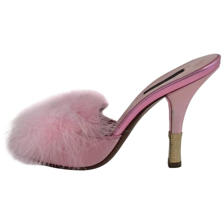 Louis Vuitton Pink Satin And Feather Mules (sz 7.5)