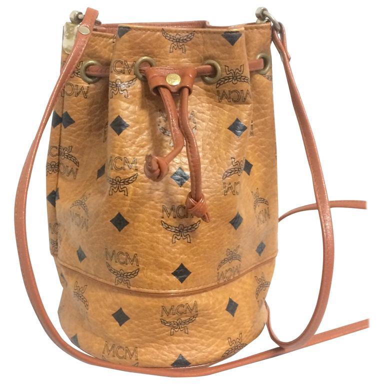 Vintage MCM brown monogram small hobo bucket bag. mini purse. West Germany made