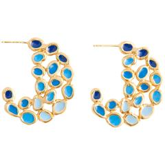 Giulia Barela Blue Hoop Earrings