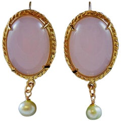 bronze earrings with two pink glass pastes by Patrizia Daliana