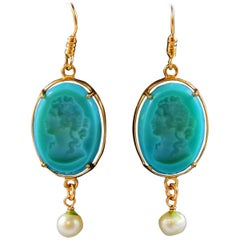 Turquoise glass and bronze earrings by Patrizia Daliana