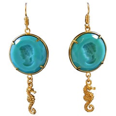 bronze and turquoise engraved paste glass earrings by Patrizia Daliana