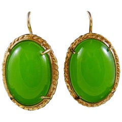 bronze and green cabochon earrings by Patrizia Daliana
