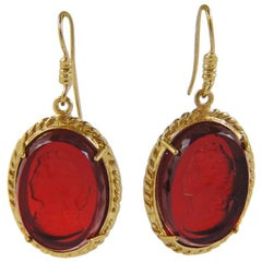 bronze and red engraved Murano glass earrings by Patrizia Daliana