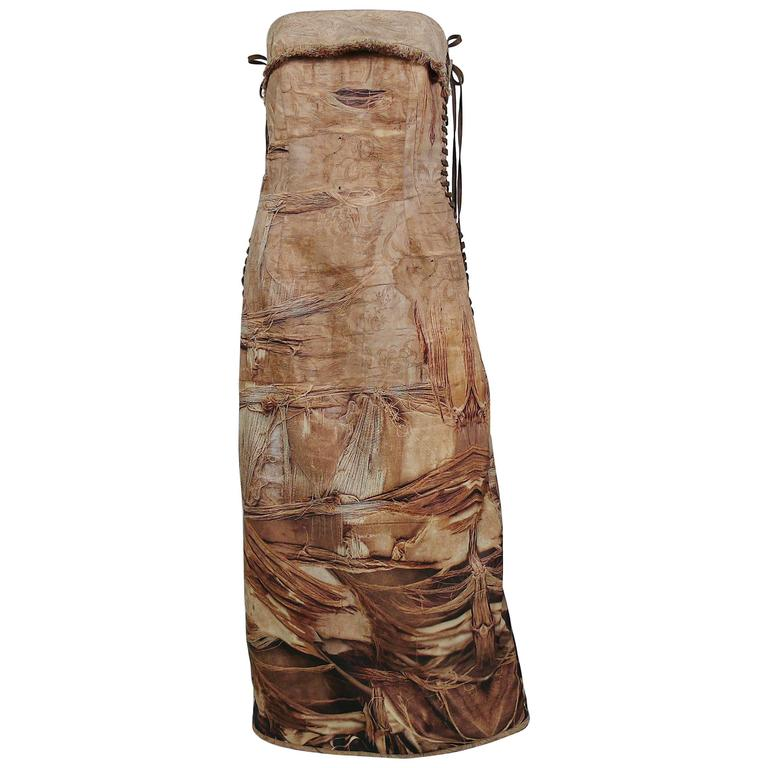 Jean Paul Gaultier Stunning Torn Fabric Trompe L'Oeil Bustier Dress USA Size 10