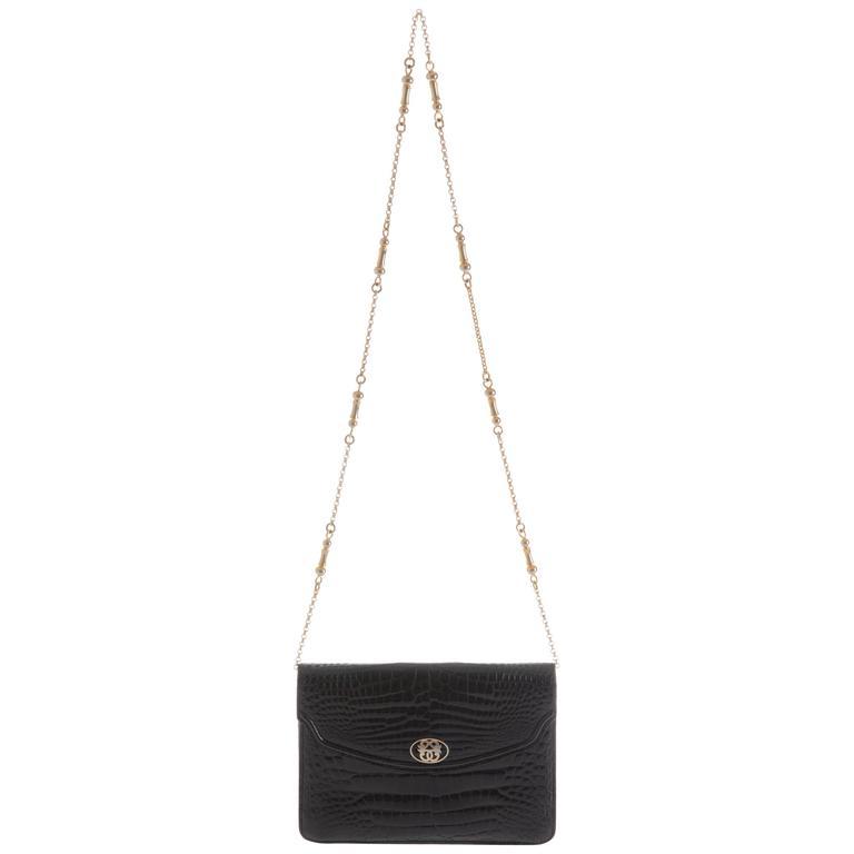 1960s PIROVANO Italian Couture Black Crocodile Clutch Shoulder Bag
