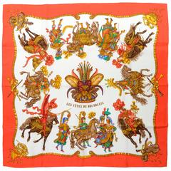 1990s New Authentic HERMES LES FETES DU ROI SOLEIL Silk Scarf with Box