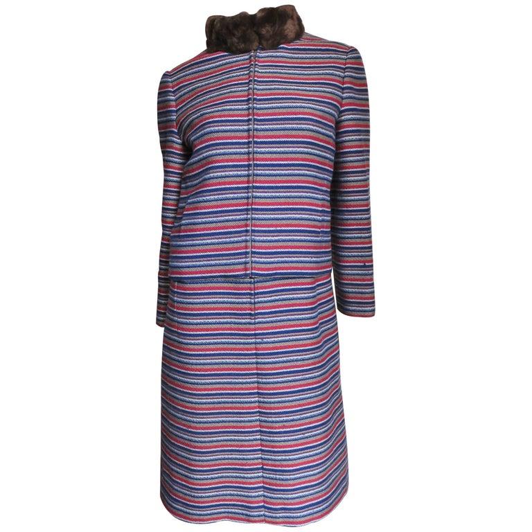 1960's Nina Ricci Mod Dress & Fur Trimmed Jacket