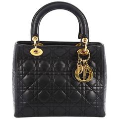 Christian Dior Lady Dior Handbag Cannage Quilt Lambskin Medium