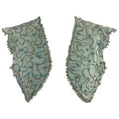 1860s Embroidered Aqua Blue Silk Grosgrain Theatrical Bolero Vest Cap Sleeves