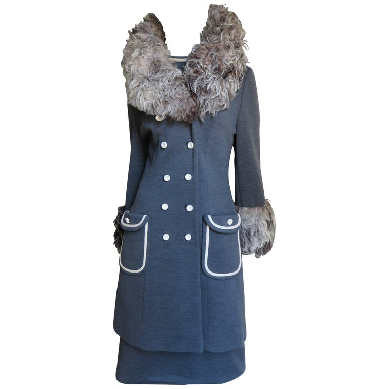 1960's Fabulous Lilli Ann Mongolian Lamb Trimmed Coat & Dress