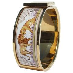 Hermes Enamel Printed Clic Clac Bracelet Lion and Lioness in savanna GHW 6cm
