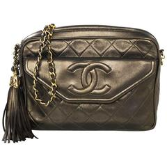 Chanel Vintage Green Metallic Lambskin Leather Quilted CC Camera Bag w/ Tassel