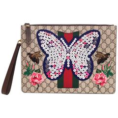 Gucci Supreme GG Monogram Butterfly Clutch/Wristlet Bag