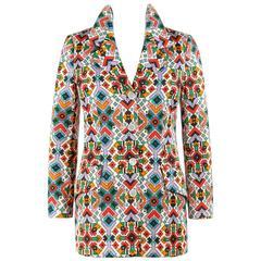 BEENE BAZAAR by GEOFFREY BEENE c.1970's Multicolor Geometric Print Blazer Jacket