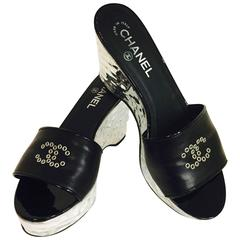 Chanel Black Leather Sandals with Silver Wedge Heel
