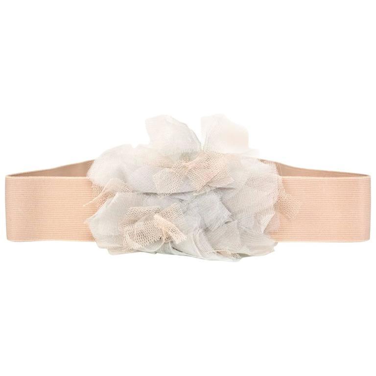 Lanvin Blush Elastic Belt w/ Flower sz L