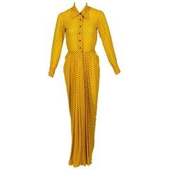 1970s James Galanos Couture Yellow Silk Black Dot Print Draped Dress