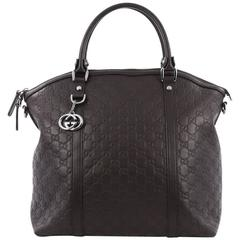 Gucci GG Charm Convertible Dome Satchel Guccissima Leather Large