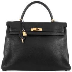 Hermes Kelly Handbag Black Clemence with Gold Hardware 35