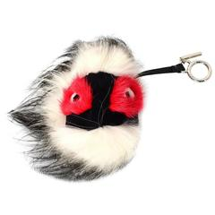 Fendi Black White & Red Fur Archy Bag Bug Charm
