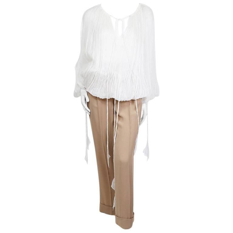 Jean Paul Gaultier Mousseline Peasant Blouse and Pants Set circa 1990s/2000s