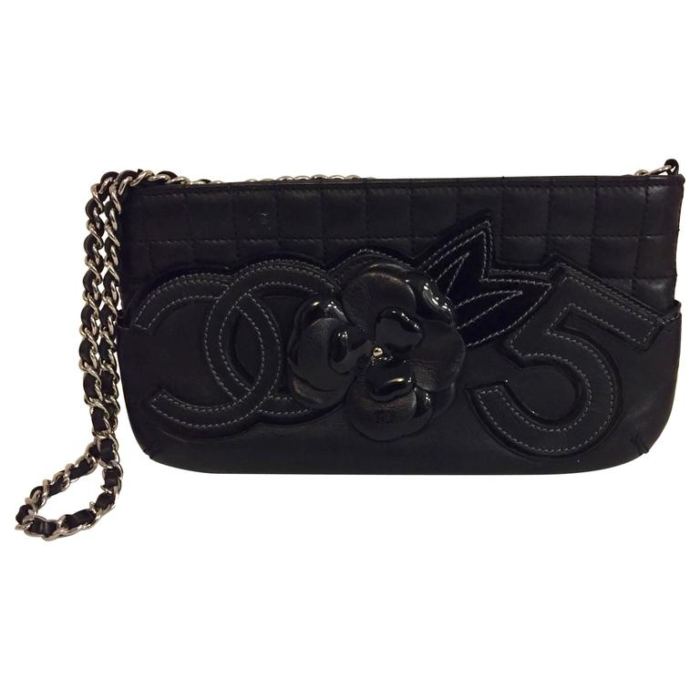 8fd369b50d28a4 Cherished Chanel No. 5 Black Clutch Bag with Chain and Camellia Flower For  Sale