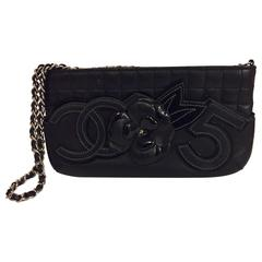 Cherished Chanel No. 5 Black Clutch Bag with Chain and Camellia Flower