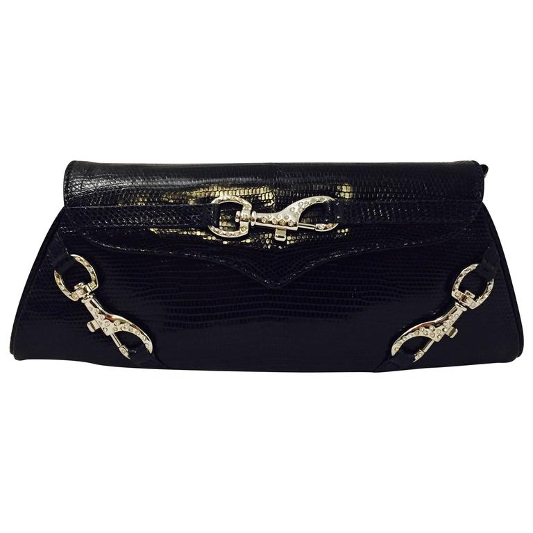 Luscious Lana Marks Blue Reptile Clutch Bag with 2 Optional Shoulder Straps