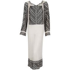 1920's Metallic Embroidered Ivory-White Gauze Cotton Bohemian Peasant Dress