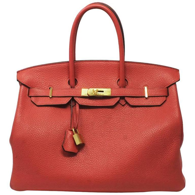 Hermes Birkin 35 Rose Jaipur Togo Leather Handbag Purse in Dust Bag For Sale