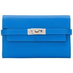 Hermes Blue Hydra Chevre Medium Bifold Kelly Wallet Palladium Hardware