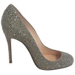 Fifi Pewter Crystal Encrusted Gold Pumps (sz 37)