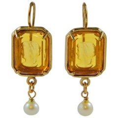 bronze and light brown engraved Murano glass earrings by Patrizia Daliana
