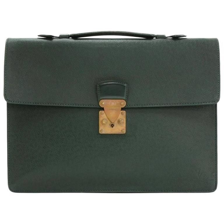 Vintage Louis Vuitton Serviette Kourad Green Taiga Briefcase Document Bag  For Sale