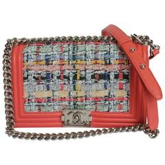 CHANEL 'Boy' Flap Bag in Multicolored Tweed and Smooth Coral Leather