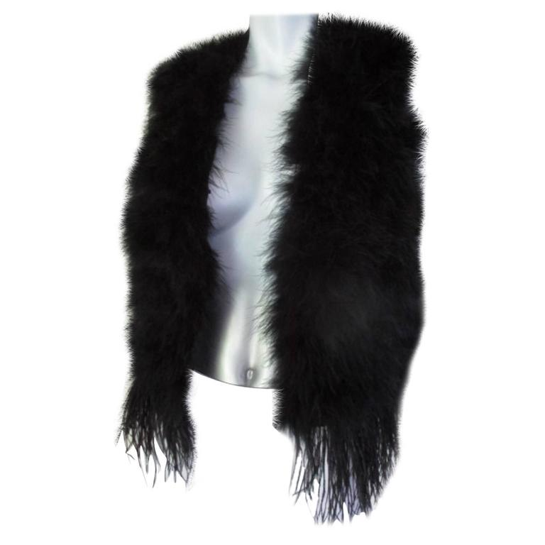 648aa41b4b9 Black Fringed Marabou Ostrich Feather Sleeveless Vest For Sale at ...