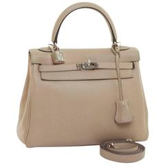 HERMES Kelly 25 Bag in Etoupe Clemence Leather