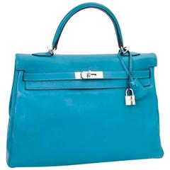 HERMES Kelly II 35 Bag in Izmir Blue Swift Calfskin Leather with Shoulder Strap