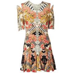 ALEXANDER MCQUEEN Dress Size 40it in Multicolored Silk