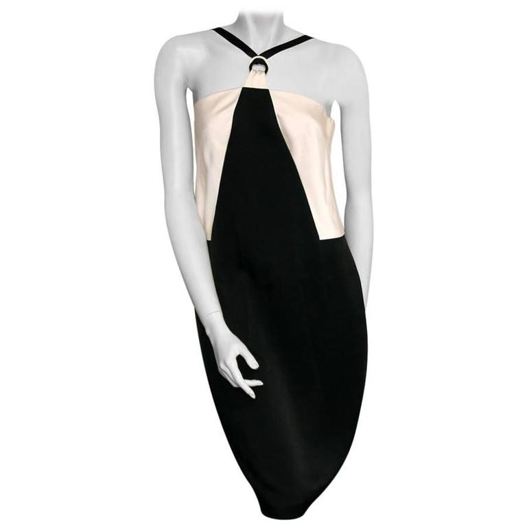 CHANEL Cocktail Dress Size 42FR in Bicolor White and Black Satin