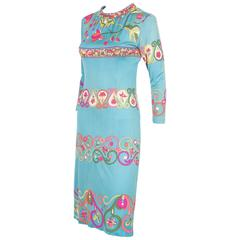 1960' Iconic Emilio Pucci Silk Jersey Dress with Belt by Coppola e Toppo