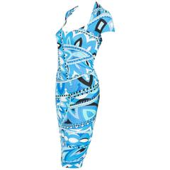 Emilio Pucci Blue Turquoise Graphic Dress