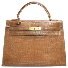 HERMES Kelly 32 Bag in Light Brown Crocodile Porosus Leather