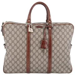 Gucci Convertible Briefcase GG Coated Canvas with Crocodile Large